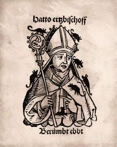 Schedel´sche Weltchronik  Abbildung Hattos II. mit Mäusen  Nürnberg, 1493  Papier  44,3 x 28,5 cm  © Mainz, Martinus-Bibliothek