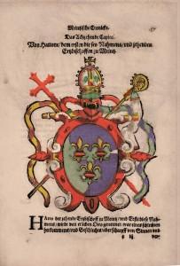 Wappenbuch, Mainzer Chronik  Wappen Hattos I.  Frankfurt, um 1613  Papier  19,7 x 15 cm  © Mainz, Martinus-Bibliothek