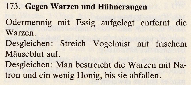 10_Das Lorscher Arzneibuch der Staatsbibliothek Bamberg_Rezept Warzen und Huehneraugen