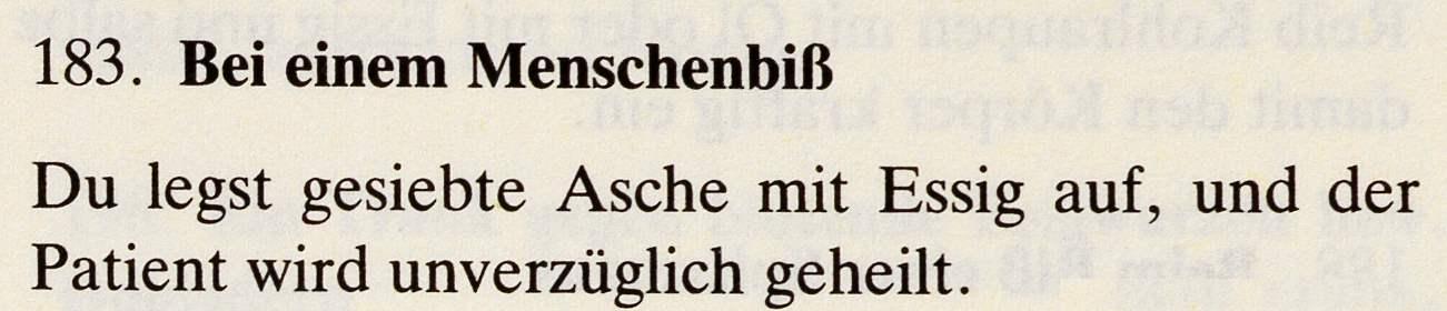 Das Lorscher Arzneibuch der Staatsbibliothek Bamberg Rezept bei Menschenbiß Quelle: mit freundlicher Genehmigung der Staatsbibliothek Bamberg