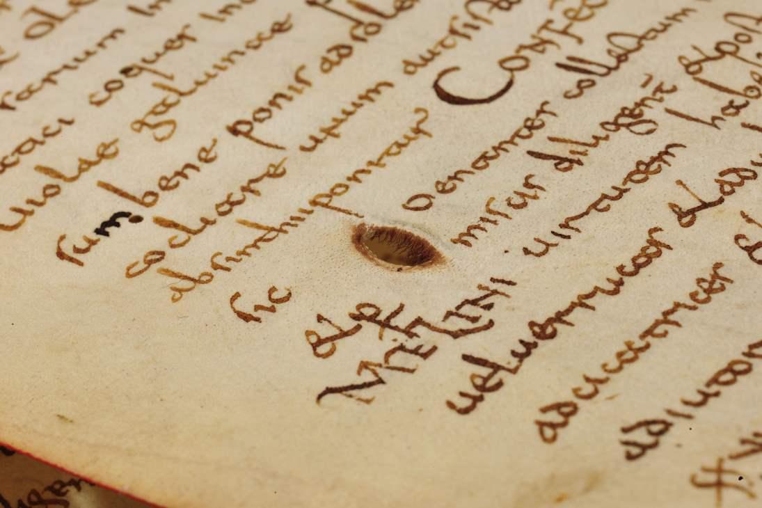 Das Lorscher Arzneibuch der Staatsbibliothek Bamberg Detail Seite mit Loch Quelle: mit freundlicher Genehmigung der Staatsbibliothek Bamberg