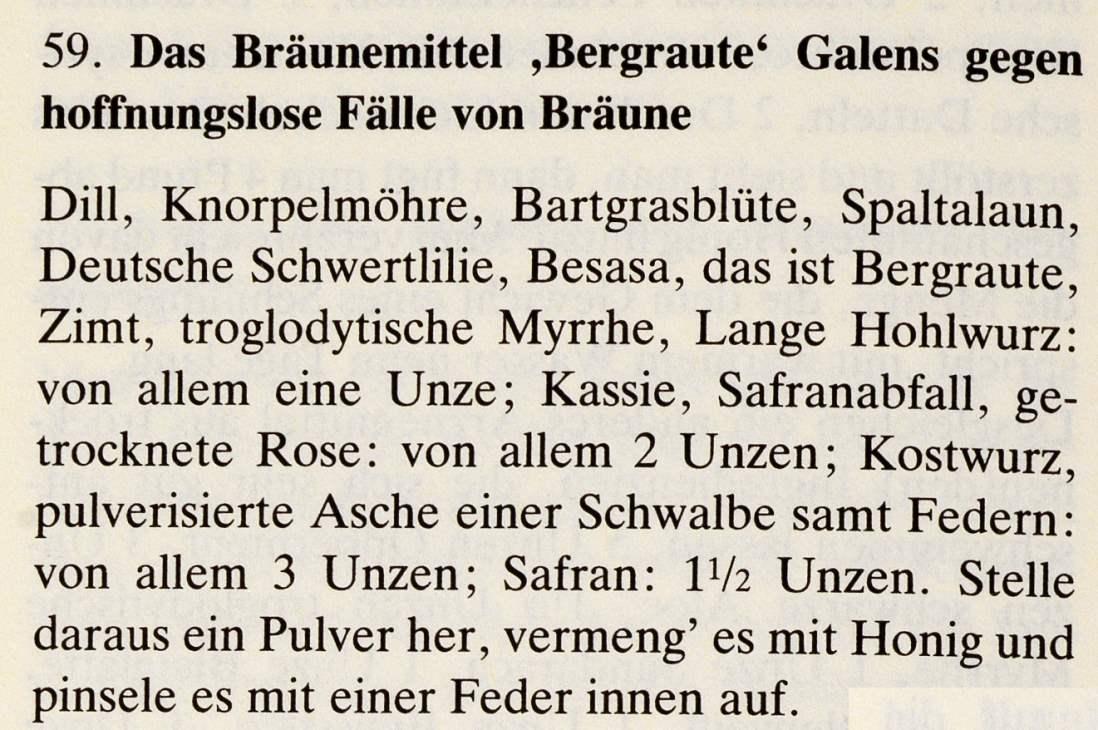 7_Das Lorscher Arzneibuch der Staatsbibliothek Bamberg_Rezept Braeune