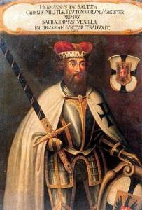 Hermann von Salza (um 1162-1239), 4. Hochmeister des Deutschen Ordens (Darstellung 17./18. Jahrhundert - Schatzkammer des Deutschen Ordens)