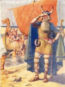 Leif Eriksson mit gehörntem Wikingerhelm (Gemälde aus einem Buch von 1909) Quelle: Wikipedia