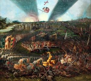 """Albrecht Altdorfers Gemälde """"Sieg Karls des Großen über die Awaren bei Regensburg"""" nimmt Bezug auf die Kämpfe zwischen Franken und Awaren am Ende des 8. Jahrhunderts. Quelle: Wikipedia"""