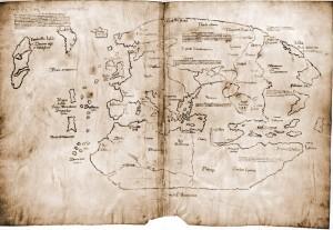 Vinland-Karte.  Yale University, Beinecke's Rare Book and Manuscript Library, MS 350A Die Echtheit der Karte ist unter Wissenschaftlern umstritten Quelle: Wikipedia