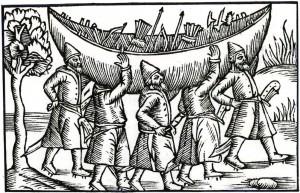 Wikinger transportieren ihr Boot von Olaus Magnus 1555 Quelle: Wikimedia