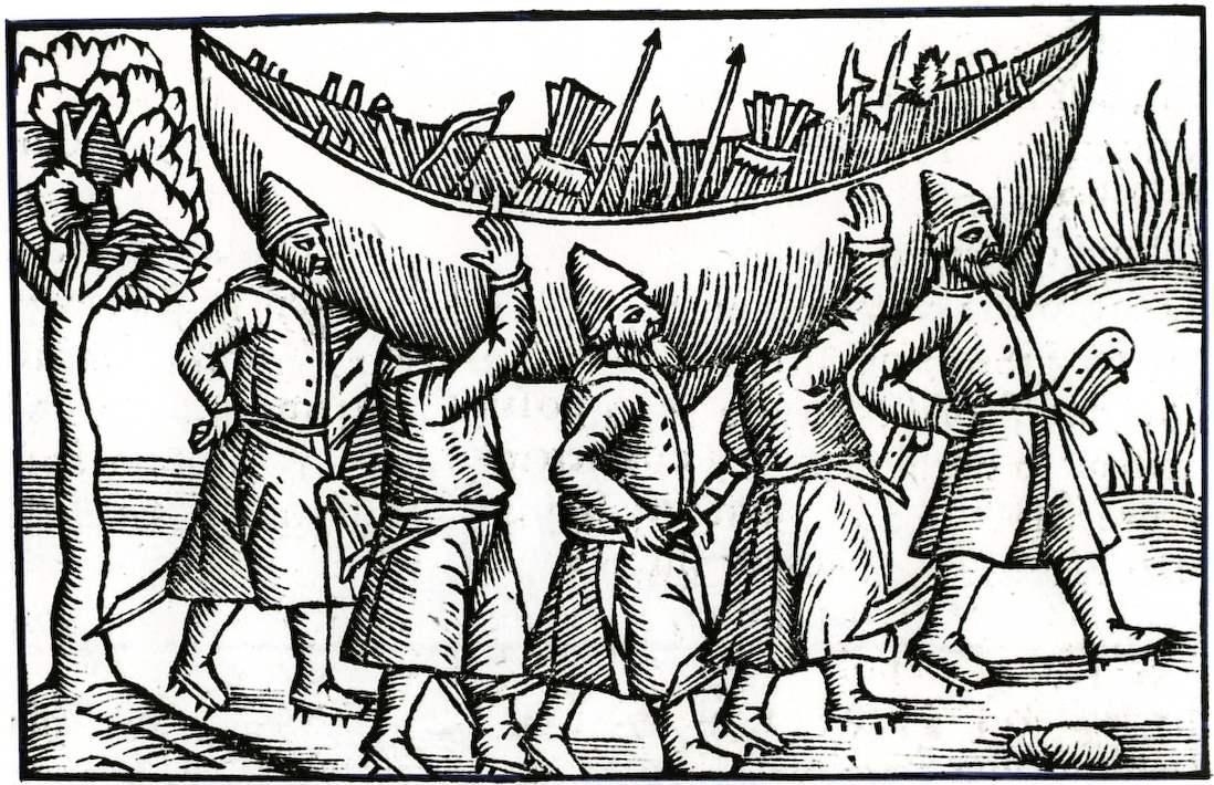 Wikinger transportieren ihr Boot
