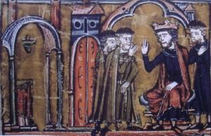 Balduin übergibt den Tempel Salomons an Hugo von Payens und Gottfried von Saint-Omer - 13. Jahrhundert (Quelle: Wikipedia)