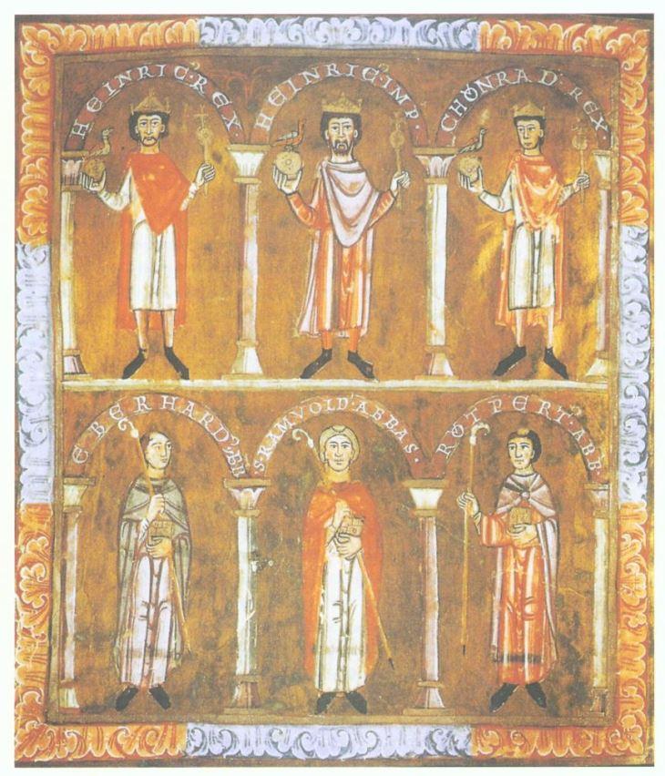 Im Evangeliar von St. Emmeram (Regensburg) wird der Gedanke der dynastischen Kontinuität zum Ausdruck gebracht: Beide Söhne Heinrichs IV. stehen trotz ihrer Rebellionen einträchtig neben ihrem Vater. Krakau, Bibliothek des Domkapitels 208, fol. 2v 1105/1106 (Quelle: Wikipedia)