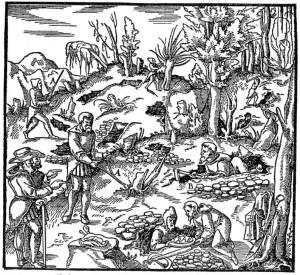 Darstellung von Bergleuten und Erzsuchern  in Agricolas De re metallica Holzschnitt von 1556 (Quelle: Wikimedia)