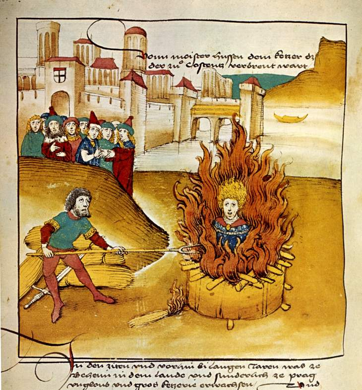 Jan Hus auf dem Scheiterhaufen - Spiezer Chronik 1485