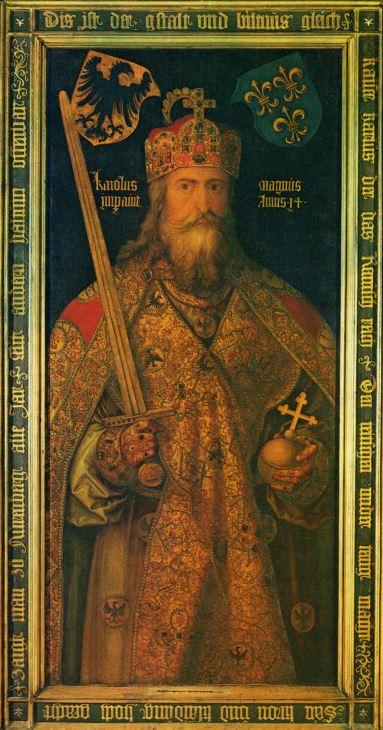 Idealbild Karls des Großen mit den Reichskleinodien, gemalt 1513 von Albrecht Dürer für seine Vaterstadt Nürnberg (Quelle: Wikipedia)
