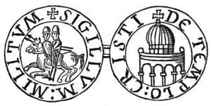 Siegel der Templer - Die beiden Reiter auf einem Pferd sollen die Brüderlichkeit und die Armut der Tempelritter unterstreichen (Quelle: Wikipedia)