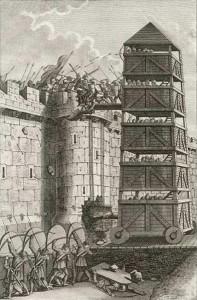 Belagerungsturm im mittelalterlichen England (Quelle: Wikipedia)