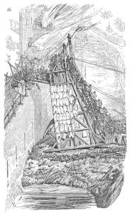 Angriff mit einem Belagerungsturm in einer Darstellung des 19. Jahrhunderts (Quelle: Wikipedia)