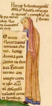 Herrad von Landsberg   Selbstbildnis aus dem Hortus Deliciarum, um 1180 (Quelle: Wikipedia)