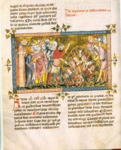 Hinrichtung von Juden, um 1350, Chronik von Gilles Li Muisis, fol. 12v Bibliothèque Royale de Belgique, Brüssel. Quelle: Wikipedia