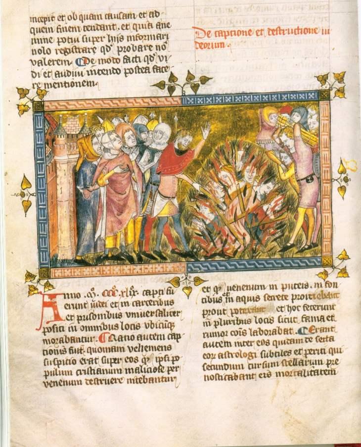 Hinrichtung von Juden, um 1350, Chronik von Gilles Li Muisis, fol. 12v Bibliothèque Royale de Belgique, Brüssel.