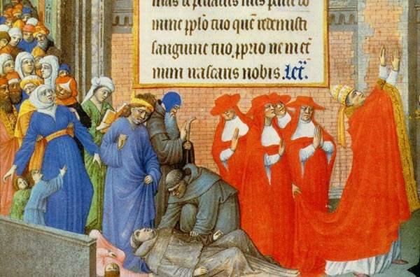 Papst Gregor I. (590 - 604) leitet eine Prozession rund um Rom, um das Ende der Pest zu erflehen.