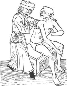 Pestarzt beim Beulenaufschneiden  Holzschnitt von Hans Folz, Nürnberg 1482