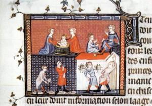 Darstellung der Erziehung von königlichem Nachwuchs am Hof von Karl V. von Frankreich. Unten eine Tennisstunde. Quelle: Wikimedia