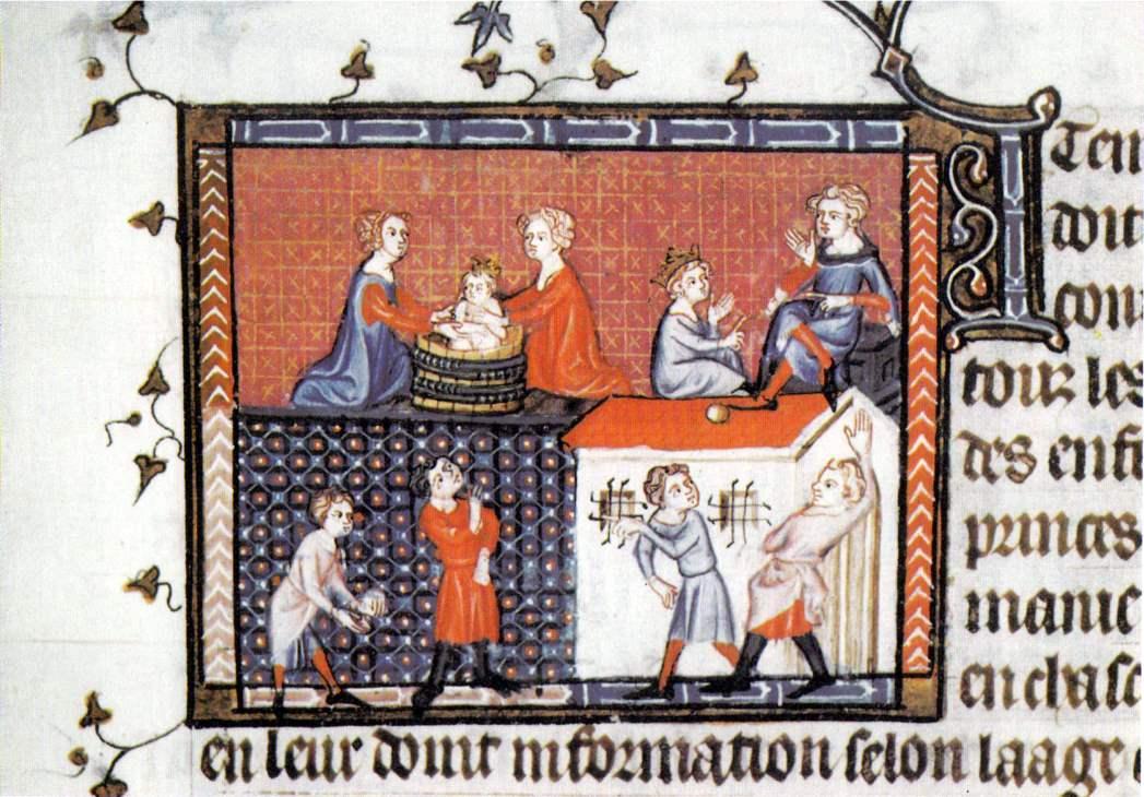 Darstellung der Erziehung von königlichem Nachwuchs am Hof von Karl V. von Frankreich - unten Tennisstunde