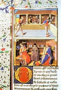 Erste bekannte Darstellung eines Tennisplatzes aus der französischen Übersetzung eines Werks von Valeris Maximus. um 1400 Quelle: Wikimedia