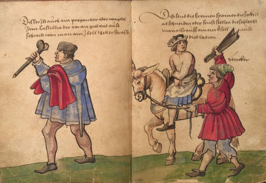 Eselsritt -Trachtenbuch- des Christoph Weiditz -Kastilianischer Weibel - Bestrafung eines Beutelschneiders in Spanien 1530