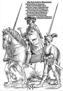 Böhmischer Hauptmann (Die Wachen tragen Ahlspiesse.), Holzschnitt von Erhard Schön um 1530 (Grafische Sammlung Albertina Wien) (Quelle: Wikimedia)
