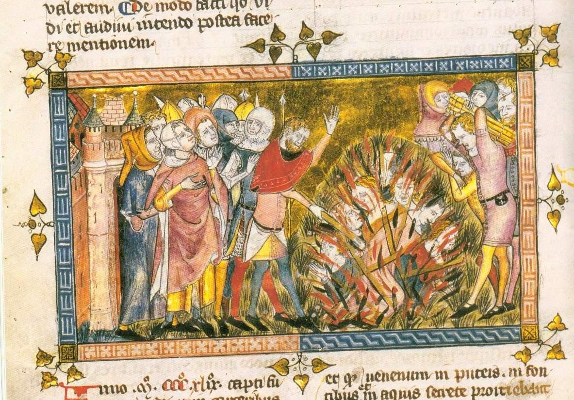 Hinrichtung von Juden, um 1350, Chronik von Gilles Li Muisis, fol. 12v Bibliothèque Royale de Belgique, Brüssel  (Quelle: Wikipedia)
