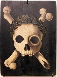 Pesttafel mit dem Triumph des Todes. Tafeln dieser Art wurden (weit nach 1353) an den Hauswänden zur Warnung vor der Pest angebracht.  Augsburg 1607-1635 Deutsches Historisches Museum Berlin (Quelle: Wikipedia)