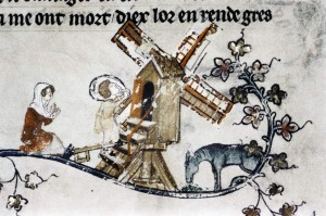 Romance of Alexander MS Bodl 264 pt I fol. 049r  Ein Mann geht mit einem Sack die Stufen zur Bockwindmühle während eine Frau an den Fingern zählt  und ein Pferd frisst. 1338-1344 Quelle: Bodleian Libraries