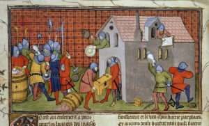 Royal 20 C VII  Chroniques de France ou de St Denis (from 1270 to 1380) f. 41v Randalierer plünderten ein Haus in Paris. Quelle: The British Library