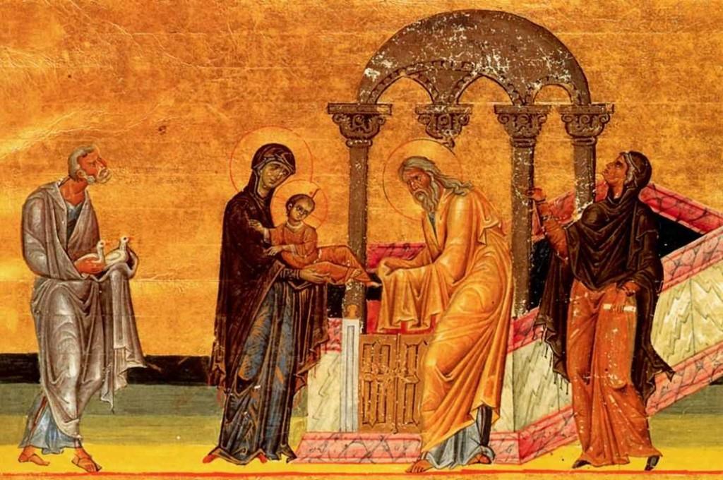 Darstellung Jesu im Tempel (aus dem Menologion Kaiser Basileios II., vor 1000 n. Chr.; Quelle: wikimedia.org)