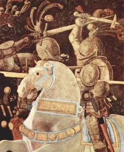 """Niccolò da Tolentino als Anführer der Florentiner (Detail aus """"Drei Gemälde zur Schlacht von Romano für den Medici-Palast in Florenz"""") von Paolo Uccello 1438 (Quelle: Wikipedia)"""