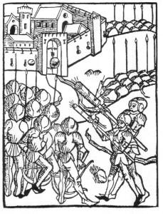 Einsatz von Handrohren bei der Belagerung einer Burg, 1475 (Quelle: Wikipedia)