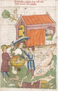 Heidelberger Bilderkatechismus Die fünfte Plage Viehsterben Übertretungen des fünften Gebots um 1455 - 1458 Cod. Pal. germ. 438, fol. 014r Quelle: Universitätsbibliothek Heidelberg Lizenz: Creative Commons-Lizenz cc-BY-NC-SA