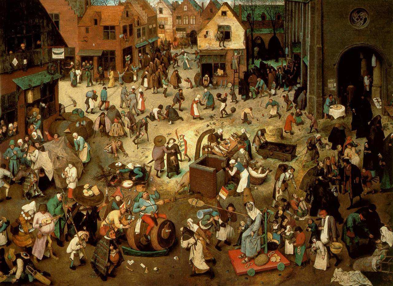 """""""Der Kampf zwischen Karneval und Fasten""""  Pieter Bruegel der Ältere, um 1559  Öl auf Eichenholz, 118 cm × 164,5 cm  Kunsthistorisches Museum Wien  (Quelle: Wikipedia)"""