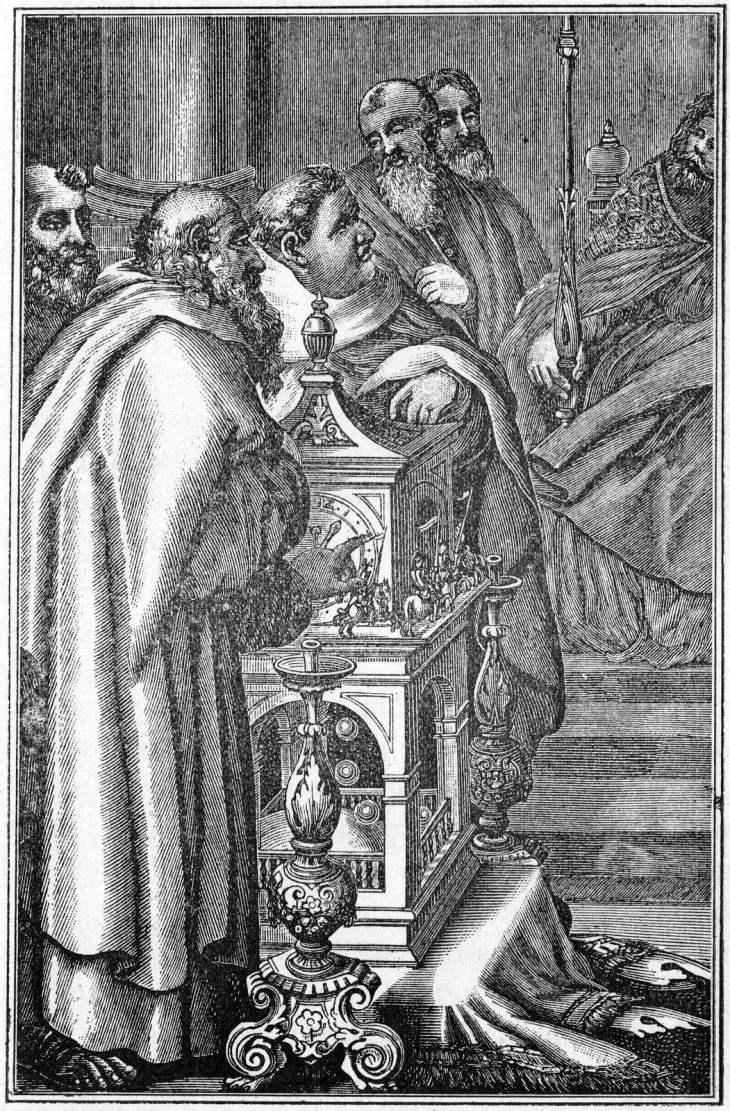 Der Kalif Harun al-Raschid schenkt Karl dem Großen eine Wasseruhr (um 800) Quelle: Wikipedia
