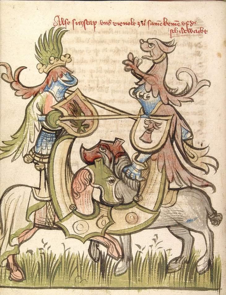 Cod Pal germ 359 - Rosengarten zu Worms - Lucidarius Seite 26v - Zweikampf zwischen Sigstapp und Reinholt