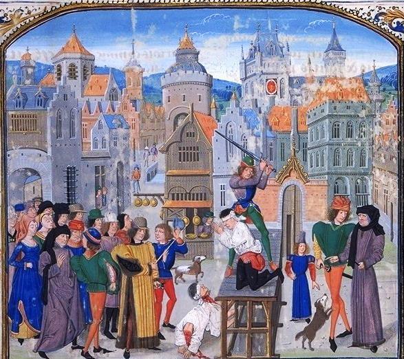 Guillaume Sans, Herr von Pommiers wird in Bordeaux auf Befehl von Thomas Felton enthauptet – Zeichnung aus Jean Froissart´s Croniken, Flandern Anfang 15. Jahrhundert (Quelle: Wikipedia)