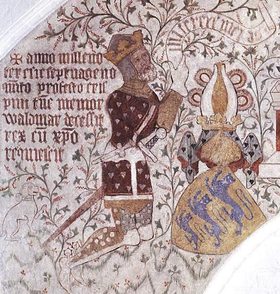Waldemar IV. Atterdag, Fresko in der Sankt Peders Kirke, Næstved, Dänemark.  Quelle: Wikimedia