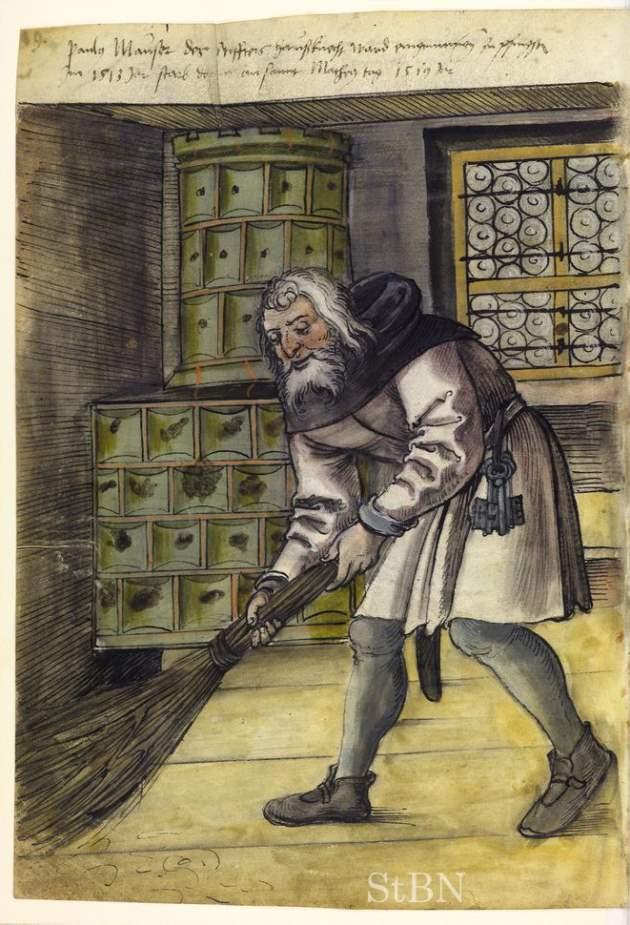 Haußknecht (Hausdiener) Hausbuch der Landauerschen Zwölfbrüderstiftung, Band 1. Nürnberg 1511-1706. Stadtbibliothek Nürnberg, Amb. 279.2° Folio 10 verso Quelle: Wikimedia