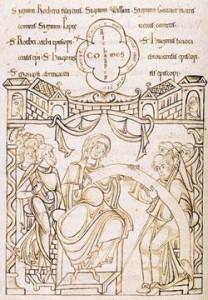 Gonnor von der Normandie bestätigt eine Charta der Abtei des Mont-Saint-Michel Archiv der Abtei 12. Jahrhundert. (Quelle: Wikipedia)