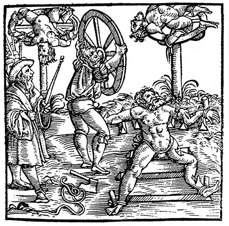 Rädern - Holzschnitt aus der Schweizer Chronik des Johann Stumpf - Augsburg 1586  (Quelle: Wikimedia)