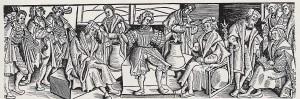 Die Rostocker Lotterie - Holzschnitt von Erhard Altdorfer 1518 Quelle: zeno.org