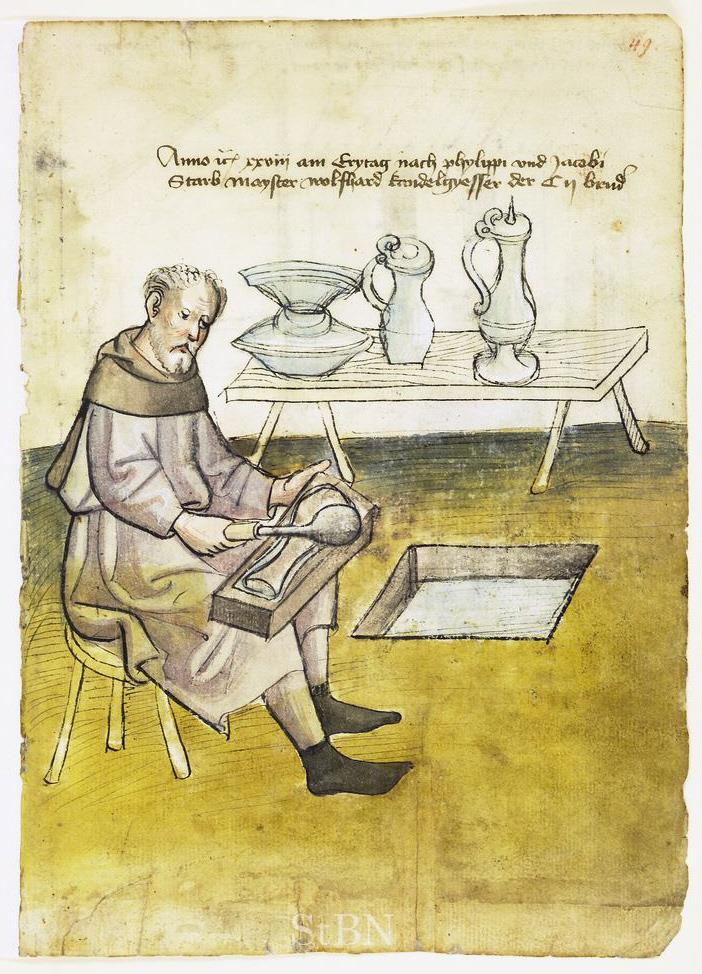 Wolfhard Kandelgyesser (Kannengiesser) 1428  Hausbuch der Mendelschen Zwölfbrüderstiftung, Band 1. Nürnberg 1426–1549. Stadtbibliothek Nürnberg, Amb. 317.2°  Quelle: Wikimedia