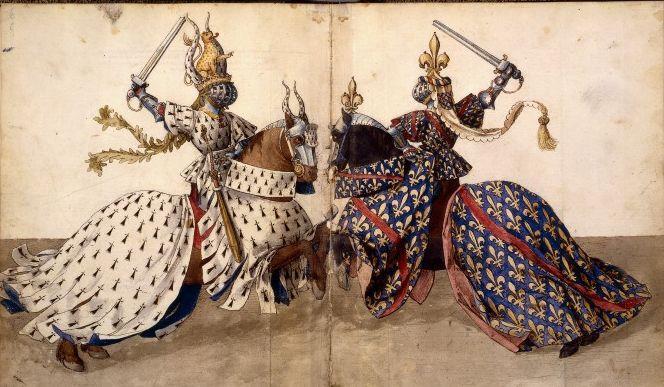 Barthélemy van Eyck Zeichnung aus Sur les tournois (Réné d'Anjou) von 1460  Quelle: Wikipedia