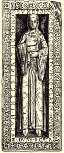 Grabplatte, etwa 1129, in Quedlinburg (Quelle: Wikipedia, Liste der Äbtissinnen von Quedlinburg)